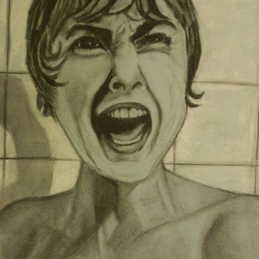 Janet Psycho Lee, charcoal on blue paper, 17 by 12 inches, 2011