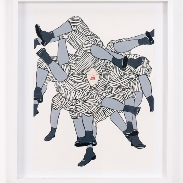 When She Leaves He Gets Up to Use Her Bathroom, acrylic ink and gouache on paper, 18 by 24 inches, 2012