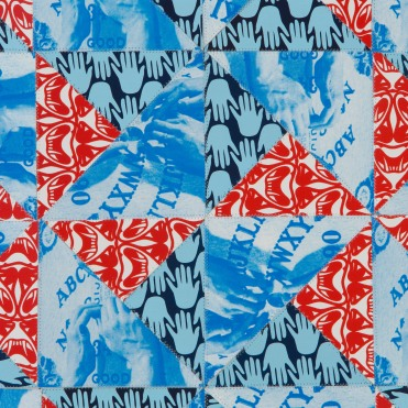 Double Pinwheel (Detail), screenprint on sewn paper, 2013