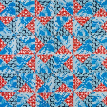 Double Pinwheel, screenprint quilt, 2013