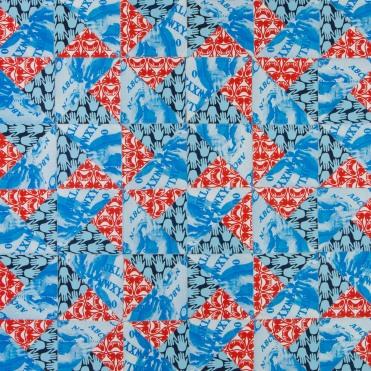 Double Pinwheel, screenprint quilt, 2013
