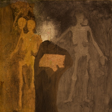 Seperation of the Soul : The Offering, acrylic and paper on canvas, 12 by 12 inches, 2011