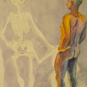 man faces death in love, watercolor, 22 by 22 inches, 2011