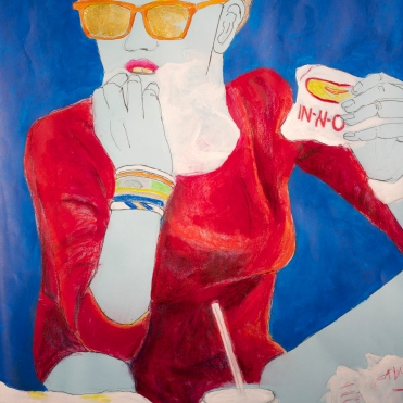 InNout Bitch, mixed media on paper, 22 by 30 inches, 2012
