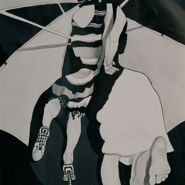 """(Detail) of """"Prayer in Bad Weather"""", acrylic ink and gouache on paper, 18in x 24 in, 2012."""